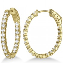 Small Oval-Shaped Diamond Hoop Earrings 14k Yellow Gold (2.94ct)
