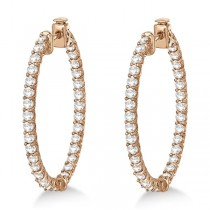 Lucida Oval-Shaped Diamond Hoop Earrings 14k Rose Gold (4.52ct)