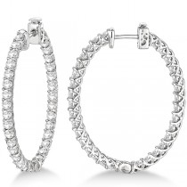 Lucida Oval-Shaped Diamond Hoop Earrings 14k White Gold (4.52ct)