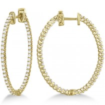Lucida Oval-Shaped Diamond Hoop Earrings 14k Yellow Gold (2.00ct)