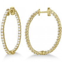 Large Oval-Shaped Diamond Hoop Earrings 14k Yellow Gold (3.51ct)