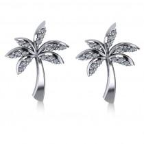 Diamond Palm Tree Summer Earrings 14k White Gold (0.20ct)