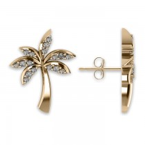 Diamond Palm Tree Summer Earrings 14k Yellow Gold (0.20ct)