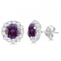 Halo Diamond Accented and Lab Alexandrite Earrings 14K White Gold (2.95ct)