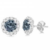 Halo Diamond Accented and Gray Spinel Earrings 14K White Gold (2.95ct)