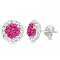 Halo Diamond Accented and Pink Tourmaline Earrings 14K White Gold (2.95ct)