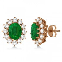 Oval Emerald and Diamond Earrings 14k Rose Gold (7.10ctw)