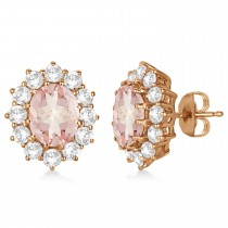 Oval Morganite and Diamond Earrings 14k Rose Gold (7.10ctw)