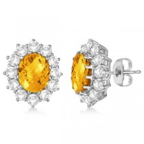 Oval Citrine and Diamond Earrings 14k White Gold (7.10ctw)