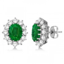 Oval Emerald and Diamond Earrings 18k White Gold (7.10ctw)