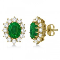Oval Emerald and Diamond Earrings 18k Yellow Gold (7.10ctw)