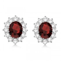 Oval Garnet and Diamond Earrings 14k White Gold (7.10ctw)