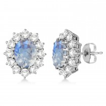 Oval Moonstone and Diamond Earrings 14k White Gold (7.10ctw)