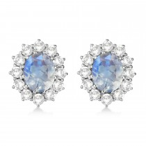 Oval Moonstone and Diamond Earrings 14k White Gold (5.50ctw)
