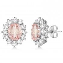 Oval Morganite and Diamond Earrings 14k White Gold (7.10ctw)