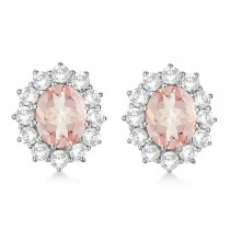 Oval Morganite and Diamond Earrings 14k White Gold (7.10ctw)