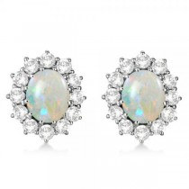 Oval Shape Opal & Diamond Accented Earrings 14k White Gold (7.10ctw)