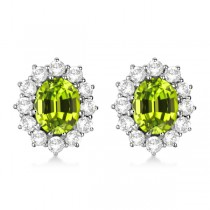 Oval Peridot & Diamond Accented Earrings 14k White Gold (7.10ctw)|escape