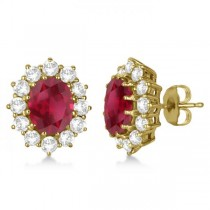 Oval Ruby and Diamond Earrings 18k Yellow Gold (7.10ctw)
