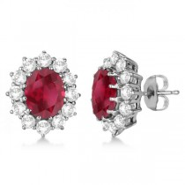 Oval Ruby and Diamond Earrings 14k White Gold (7.10ctw)