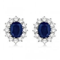 Oval Blue Sapphire and Diamond Earrings 18k White Gold (7.10ctw)