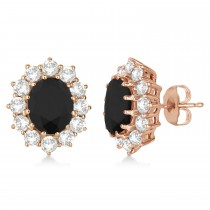 Oval Black and White Diamond Earrings 18k Rose Gold (5.55ctw)