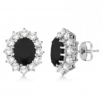 Oval Black and White Diamond Earrings 18k White Gold (5.55ctw)