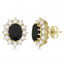 Oval Black and White Diamond Earrings 18k Yellow Gold (5.55ctw)