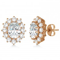 Oval Moissanite and Diamond Earrings 14k Rose Gold (7.10ctw)