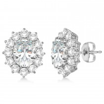 Oval Moissanite and Diamond Earrings 14k White Gold (7.10ctw)