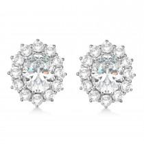 Oval Moissanite and Diamond Earrings 14k White Gold (7.10ctw)|escape
