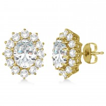 Oval Moissanite and Diamond Earrings 14k Yellow Gold (7.10ctw)