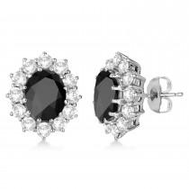 Oval Black Onyx and Diamond Earrings 14k White Gold (5.55ctw)