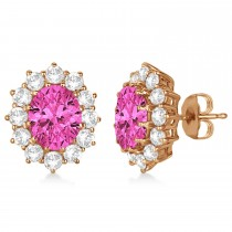 Oval Pink Tourmaline and Diamond Lady Di Earrings 14k Rose Gold (7.10ctw)