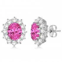Oval Pink Tourmaline and Diamond Lady Di Earrings 14k White Gold (7.10ctw)