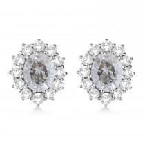 Oval Salt & Pepper and White Diamond Earrings 14k White Gold (5.55ctw)