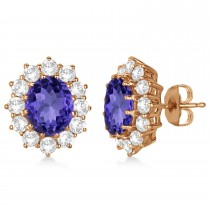 Oval Tanzanite and Diamond Lady Di Earrings 14k Rose Gold (7.10ctw)