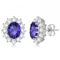 Oval Tanzanite and Diamond Lady Di Earrings 14k White Gold (7.10ctw)