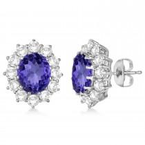 Oval Tanzanite and Diamond Lady Di Earrings 14k White Gold (7.10ctw)