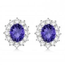 Oval Tanzanite and Diamond Lady Di Earrings 14k White Gold (7.10ctw)|escape