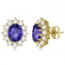 Oval Tanzanite and Diamond Lady Di Earrings 14k Yellow Gold (7.10ctw)