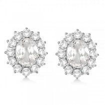 Oval White Topaz & Diamond Accented Earrings 14k White Gold (7.10ct)|escape