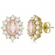 Oval Morganite and Diamond Earrings 14k Yellow Gold (7.10ctw)