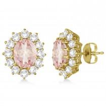 Oval Morganite and Diamond Earrings 14k Yellow Gold (7.10ctw)