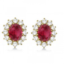 Oval Ruby and Diamond Earrings 14k Yellow Gold (7.10ctw)