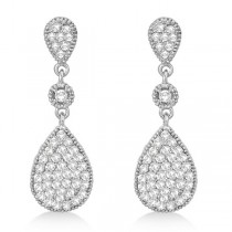 Milgrain Tear Drop Dangling Diamond Earrings 14k White Gold (0.65ct)|escape