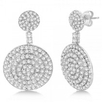 Dangling Double Circle Diamond Earrings Pave 14k White Gold (4.10ct)