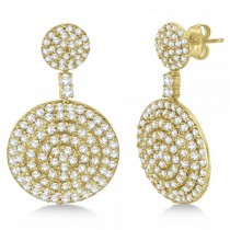 Dangling Double Circle Diamond Earrings Pave 14k Yellow Gold (4.10ct)