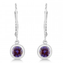 Leverback Dangling Drop Lab Alexandrite Earrings 14k White Gold (0.50ct)