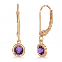 Leverback Dangling Drop Amethyst Earrings 14k Rose Gold (0.50ct)